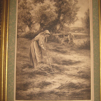 "ANTIQUE PICTURE CALLED ""HAYMAKING"" - Posters and Prints"
