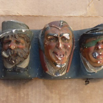 Hanging Chalk ware character heads