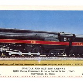 Norfolk and Western Ink Blotter Featuring A J Series Steam Locomotive - Railroadiana