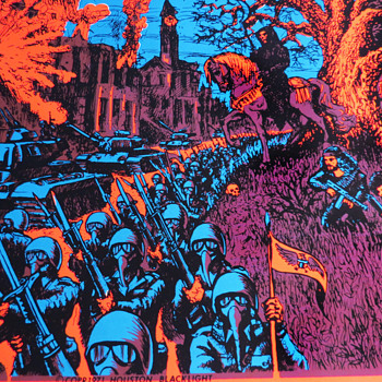 Vintage Houston Black Light Poster 1971 showing Anarchy in the Streets - Politics