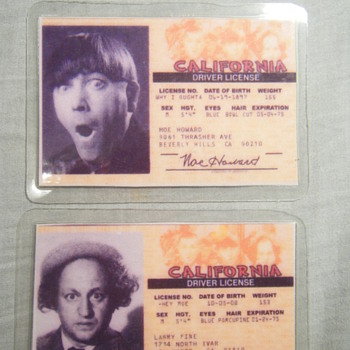 THE THREE STOOGES Moe Howard - Larry Fine's Driver Licenses - Postcards