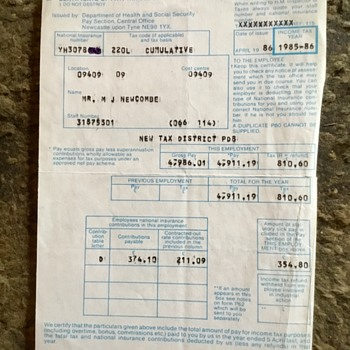 Old civil service pay slips , 1986 to 1989. - Paper