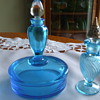 FOSTORIA PERFUME BOTTLE & POWDER BOX Combo. in BLUE