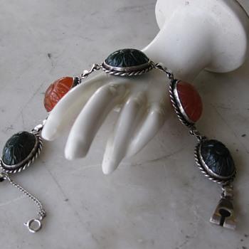 Carved sunflower carnelian & green sardonyx sterling bracelet - Fine Jewelry