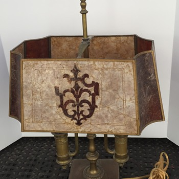 Double Candlestick Brass and Copper Lamp with Caprese Shell Lampshade - Lamps