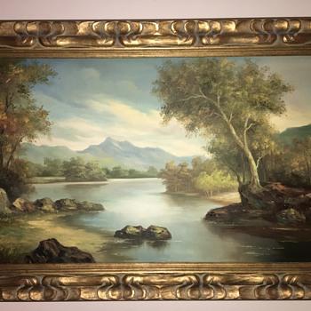 German or Asian? Artist I. Cafieri Original Large Oil Painting - Fine Art