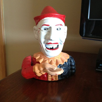 Cast Iron Clown Bank  - Coin Operated