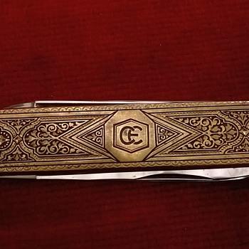 1960s German Solingen Etched Brass & Steel Toledo Folding Pocket Knife - Tools and Hardware