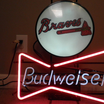 Budweiser Bowtie and Atlanta Braves sign cir. 1992 Union Made - Signs