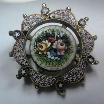 Little Micro Mosaic gilt silver brooch - Fine Jewelry