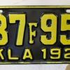 Oklahoma 1927 license plate