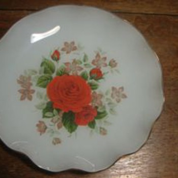 My Mystery Frosted Reverse Painted Gold Trimmed Ruffled Plate - China and Dinnerware