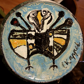 Charger by Karel Appel - Human Fly? - Pottery