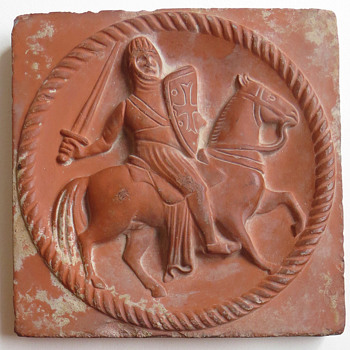 Templar Knight unglazed red clay tile - Pottery