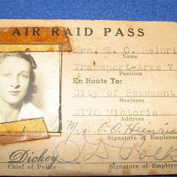 WWII Era Air Raid Pass - Military and Wartime
