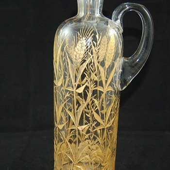 Antique decanter with gold wheat motif - Bottles