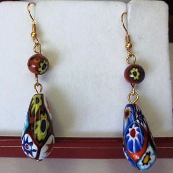 VINTAGE VENETIAN MILLEFIORI GLASS BEAD EARRINGS - Art Deco