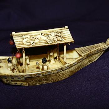 Ox Bone Carving Asian Boat  - Asian