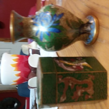Tiny Antique Asian Vase and Box - Asian