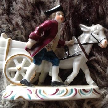 Porcelain Man Donkey & Cart - Figurines