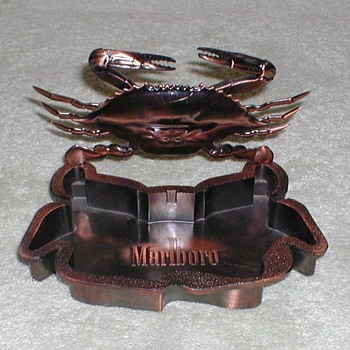 """Marlboro"" Bronze Ashtray & Crab Lighter - Tobacciana"