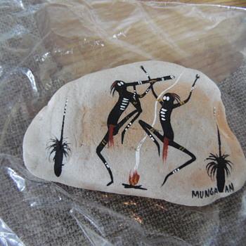 Native American Painting On Rock Munga an