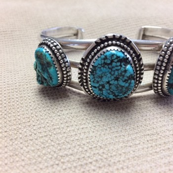 Turquoise silver bracelet. Hand made and initialed