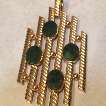 Vintage Abstract gold filled and jade pendant - Costume Jewelry