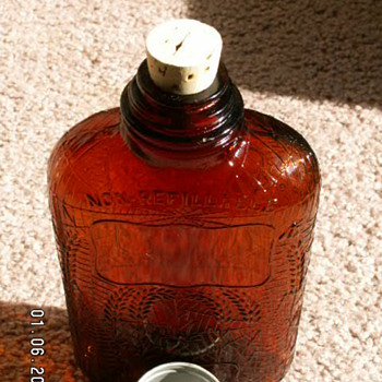 "1914 Medicinal ""Antique Whiskey"" Bottle ~ Depressed Spider Webs 100 Proof"