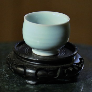 Tiny Little Wheel-thrown Porcelain Sake Cup in a Light Blue Glaze
