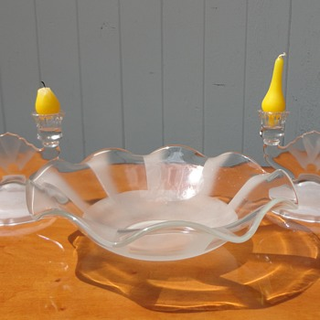 Jeanette Company Depression Glass Frosted bowl and Candlesticks - Art Glass