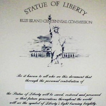 Statue of Liberty - Ellis Island Centennial Commission Certificate - Paper