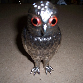 Vintage Silver Sugar Shaker- Owl with Glass Eyes - Animals