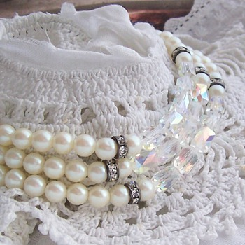 Glass pearl and aurora borealis crystal necklaces - Costume Jewelry