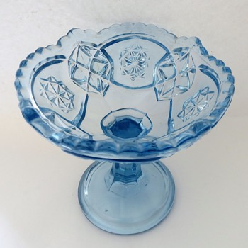 Pale blue Pressed Glass Compot / Candy dish