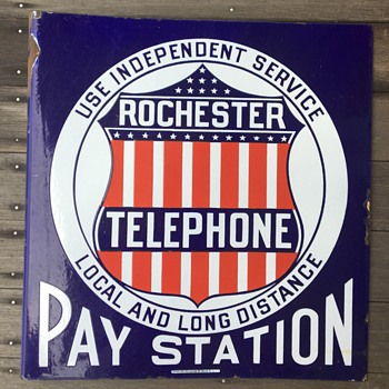 1910s Rochester Independent Pay Station sign - Telephones