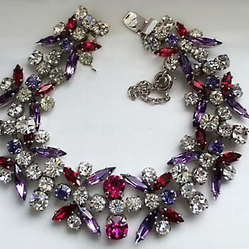 Signed Sherman Alexandrite & Fuschia & Clear Rhinestone Bracelet - Costume Jewelry