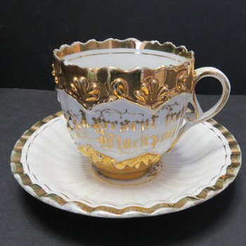 Souvenir Cup and Saucer - A Present from blackpool - China and Dinnerware