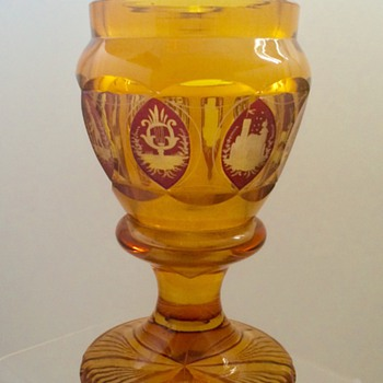 Antique Bohemian Wheel Cut Teplitz? Amber Souvenir Panelled Urn, 1880's - Art Glass