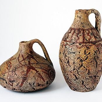 Australian Or African Pottery Bottle Vases. - Pottery