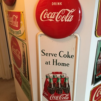 1948 Coca-Cola Metal Pillar & Disc Sign - Coca-Cola