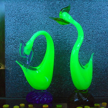 Murano Uranium Pheasant Pair - Art Glass