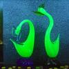 Murano Uranium Pheasant Pair