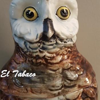"""My 1880s Majolica Humidor OWL... """"El Tabaco""""! - Animals"""