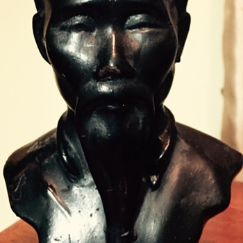 Bronze painted Japanese/Chinese bust  - Asian