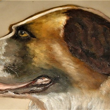 Victorian 1880s Painting Of A St. Bernard On Glass - Animals
