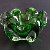 Japanese (?) green glass ashtray