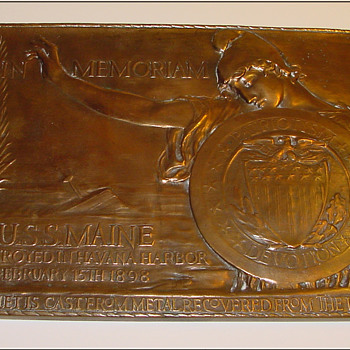 Bronze plaque made from salvage parts of The USS Maine - Military and Wartime