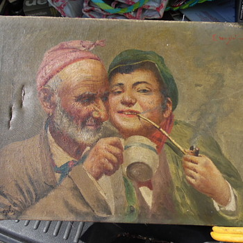 Another Storage Old Painting Old Man With Cup,Young Man with Pipe Signed Twince - Fine Art
