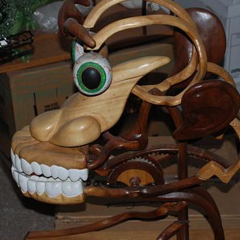 wierd wood face sculpture - Fine Art
